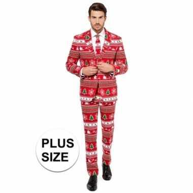 Compleet grote maten kostuum met kerstboom print