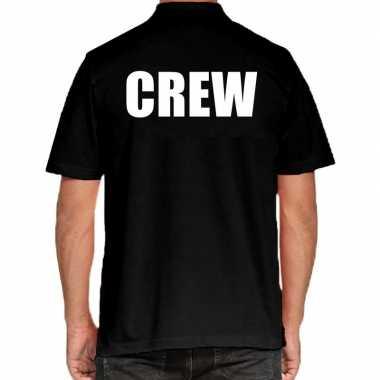 Crew grote maten poloshirt zwart voor heren