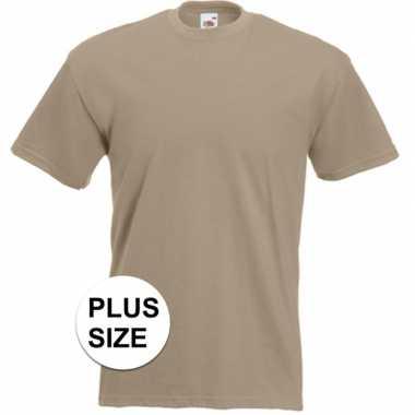 Grote maten beige t-shirts met korte mouwen voor heren