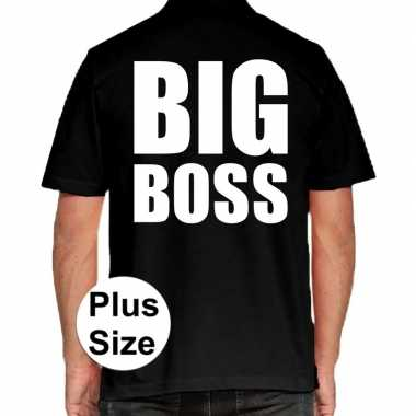 Grote maten big boss polo shirt zwart voor heren