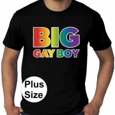Grote maten big gay boy regenboog gay pride t-shirt zwart heren