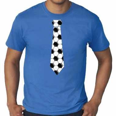 Grote maten blauw supporter t-shirt voetbal stropdas ek/ wk voor heren