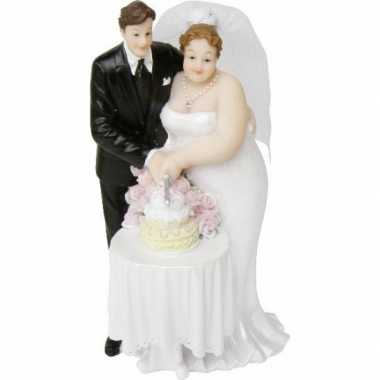 Grote maten bruiloft trouwfiguurtje bruidspaar met bruidstaart 14 cm
