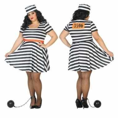 Grote maten carnaval/feest boeven/gevangenen bonnie verkleedoutfit j