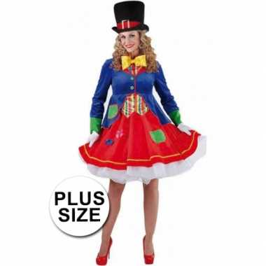 Grote maten  Carnavalskleding plus size clowns jurkje