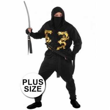 Grote maten carnavalskostuum ninja voor heren xxl