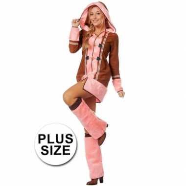 Grote maten dames eskimo kostuum bruin/roze