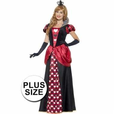Grote maten dames rode koningin kostuum