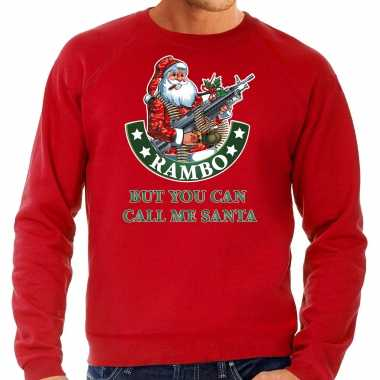 Grote maten foute kerstsweater / outfit rambo but you can call me santa rood voor heren