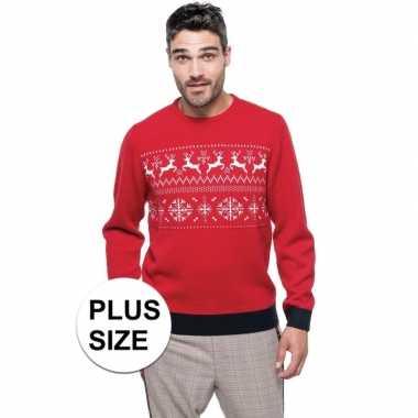 Grote maten foute rode kersttruien scandinavische print voor heren