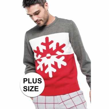 Grote maten foute rood/grijze kersttruien sneeuwvlok print voor here