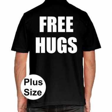 Grote maten free hugs polo shirt zwart voor heren