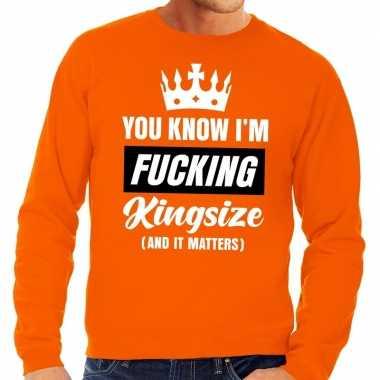 Grote maten fucking kingsize oranje sweater heren