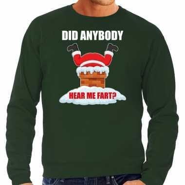 Grote maten fun kerstsweater / outfit did anybody hear my fart groen voor heren