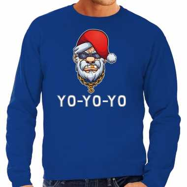 Grote maten gangster / rapper santa foute kerstsweater / outfit blauw voor heren