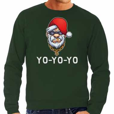 Grote maten gangster / rapper santa foute kerstsweater / outfit groen voor heren