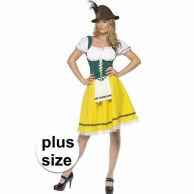 Grote maten geel groen oktoberfest jurkje voor dames