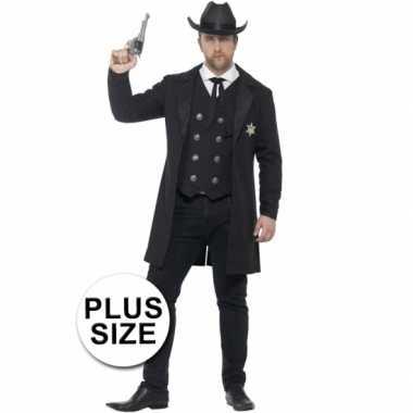 Grote maten heren cowboy sheriff kostuum