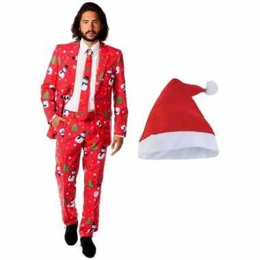 Grote maten heren opposuits kerst kostuum rood met kerstmuts - maat 5