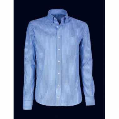 Grote maten heren overhemd blauw gestreept met korte mouwen