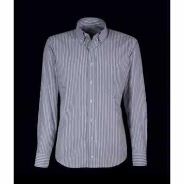 Grote maten heren overhemd grijs met witte strepen