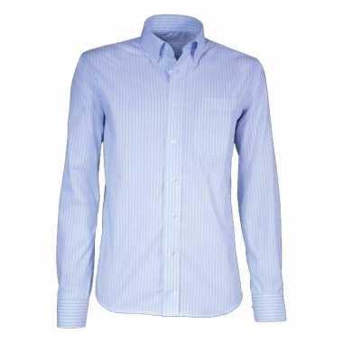 Grote maten heren overhemd licht blauw gestreept met korte mouwen