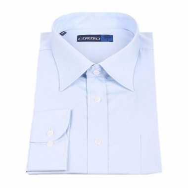 Grote maten heren overhemd licht blauw met korte mouwen