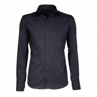 Grote maten heren overhemd zwart met extra lange mouwen