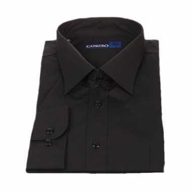 Grote maten heren overhemd zwart met korte mouwen