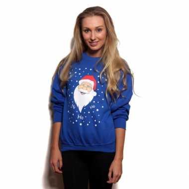 Grote maten kerstmis trui blauw ho ho ho