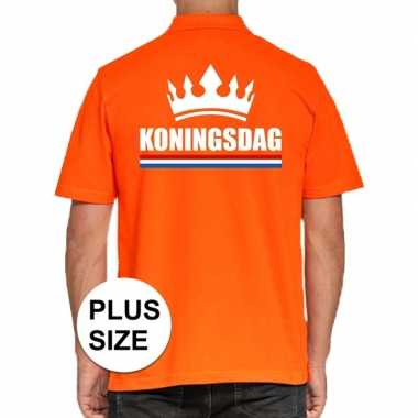 Grote maten koningsdag poloshirt met kroon oranje voor heren