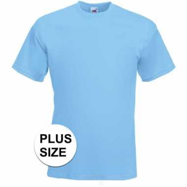 Grote maten licht blauwe t-shirts met korte mouwen voor heren
