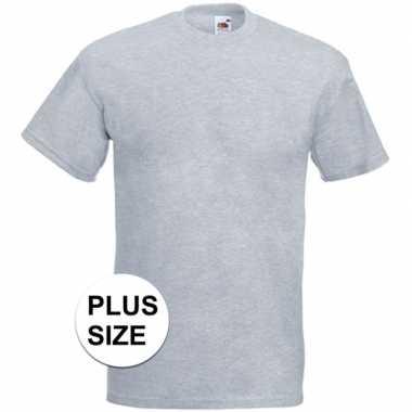 Grote maten licht grijze t-shirts met korte mouwen voor heren