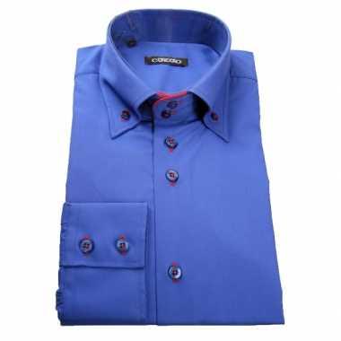 Grote maten luxe overhemd blauw giovanni capraro
