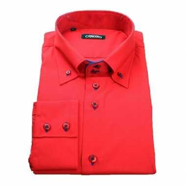 Grote maten luxe overhemd rood giovanni capraro