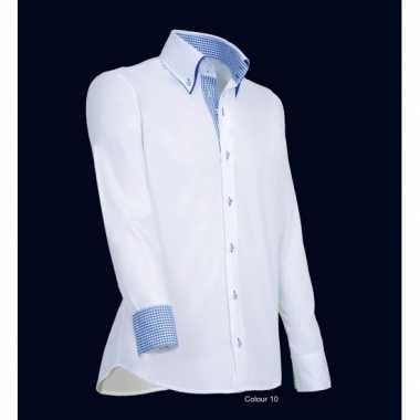 Grote maten luxe overhemd wit met blauw giovanni capraro