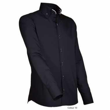 Grote maten luxe overhemd zwart giovanni capraro