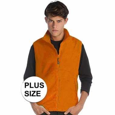 Grote maten oranje fleece sport bodywarmers voor heren