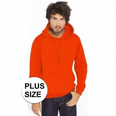 Grote maten oranje hooded sweater/trui voor heren