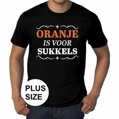 Grote maten oranje is voor sukkels shirt zwart heren