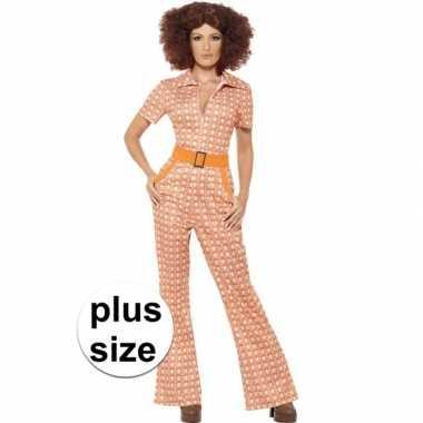 Grote maten oranje jaren 70 kostuum voor dames