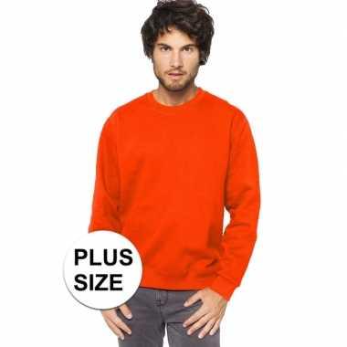 Grote maten oranje sweater/trui katoenmix voor heren