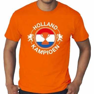 Grote maten oranje t-shirt holland / nederland supporter holland kampioen met beker ek/wk voor heren