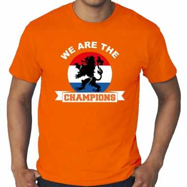 Grote maten oranje t-shirt holland / nederland supporter holland kampioen met leeuw ek/ wk voor here