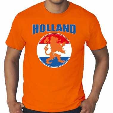 Grote maten oranje t-shirt holland / nederland supporter holland met oranje leeuw ek/ wk voor heren