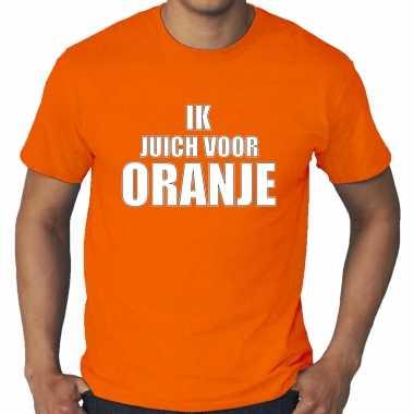 Grote maten oranje t-shirt holland / nederland supporter ik juich voor oranje ek/ wk voor heren