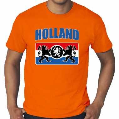 Grote maten oranje t-shirt holland / nederland supporter met een nederlands wapen ek/ wk voor heren