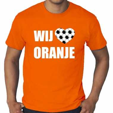 Grote maten oranje t-shirt holland / nederland supporter wij houden van oranje ek/ wk voor heren