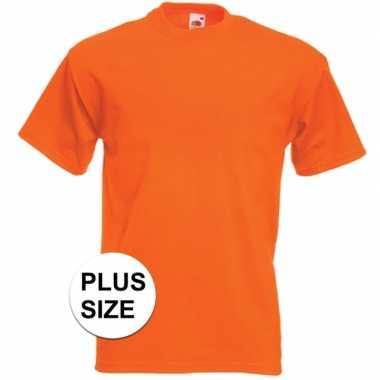Grote maten oranje t-shirts met korte mouwen voor heren