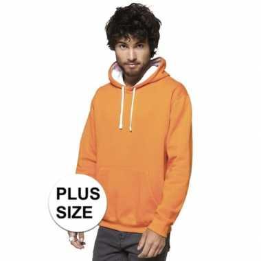 Grote maten oranje/witte hooded sweater/trui voor heren